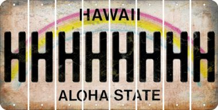 Hawaii H Cut License Plate Strips (Set of 8) LPS-HI1-008