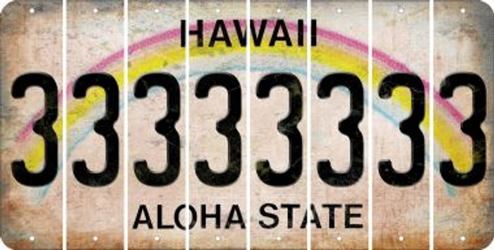 Hawaii 3 Cut License Plate Strips (Set of 8) LPS-HI1-030
