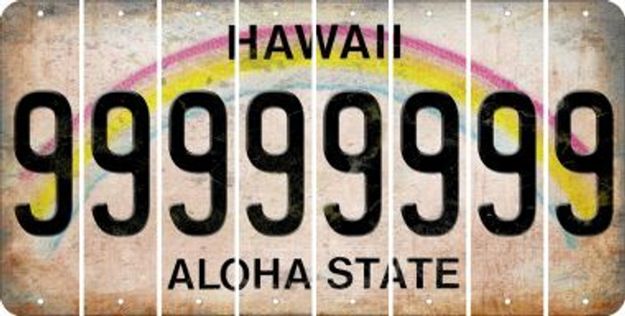 Hawaii 9 Cut License Plate Strips (Set of 8) LPS-HI1-036