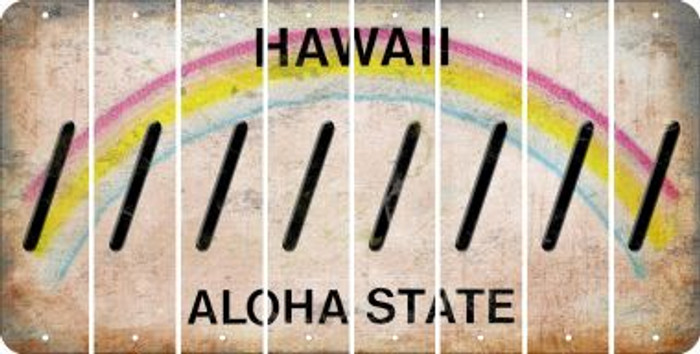 Hawaii FORWARD SLASH Cut License Plate Strips (Set of 8) LPS-HI1-042