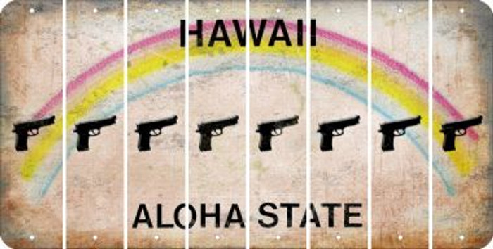 Hawaii HANDGUN Cut License Plate Strips (Set of 8) LPS-HI1-051