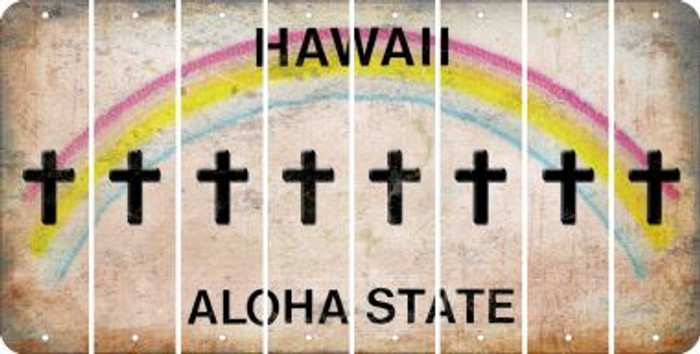 Hawaii CROSS Cut License Plate Strips (Set of 8) LPS-HI1-083