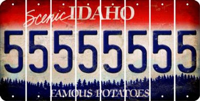 Idaho 5 Cut License Plate Strips (Set of 8) LPS-ID1-032