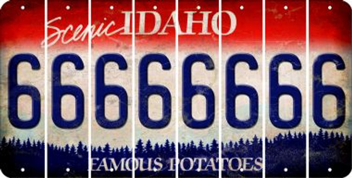 Idaho 6 Cut License Plate Strips (Set of 8) LPS-ID1-033