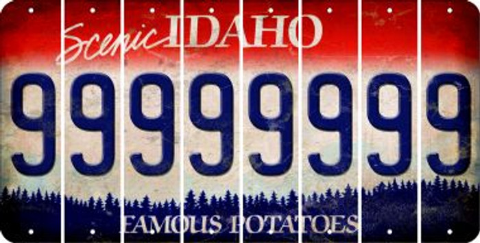 Idaho 9 Cut License Plate Strips (Set of 8) LPS-ID1-036