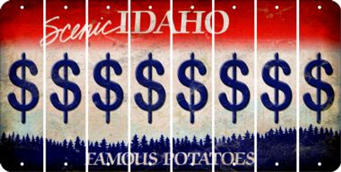 Idaho DOLLAR SIGN Cut License Plate Strips (Set of 8) LPS-ID1-040