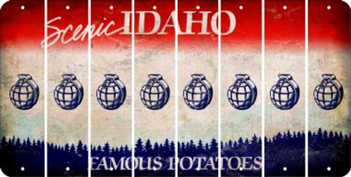 Idaho HAND GRENADE Cut License Plate Strips (Set of 8) LPS-ID1-050