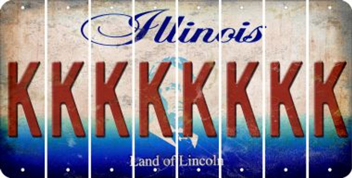 Illinois K Cut License Plate Strips (Set of 8) LPS-IL1-011