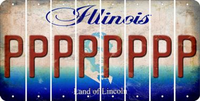 Illinois P Cut License Plate Strips (Set of 8) LPS-IL1-016