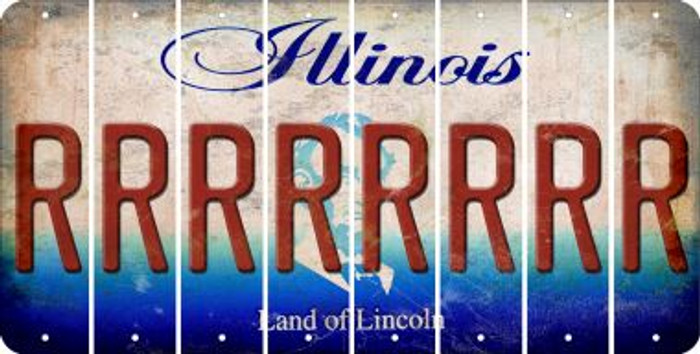 Illinois R Cut License Plate Strips (Set of 8) LPS-IL1-018