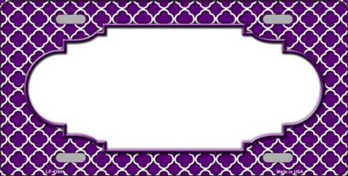 Purple White Quatrefoil Center Scallop Wholesale Metal Novelty License Plate LP-4304