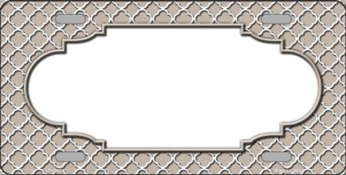 Tan White Quatrefoil Center Scallop Wholesale Metal Novelty License Plate LP-4308
