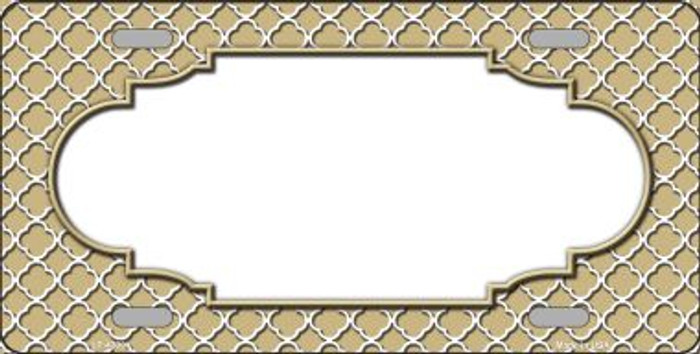 Gold White Quatrefoil Center Scallop Wholesale Metal Novelty License Plate LP-4309