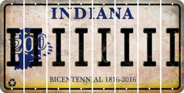 Indiana I Cut License Plate Strips (Set of 8) LPS-IN1-009