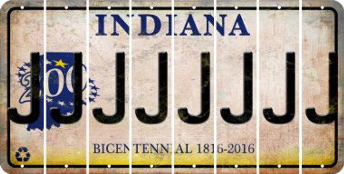 Indiana J Cut License Plate Strips (Set of 8) LPS-IN1-010
