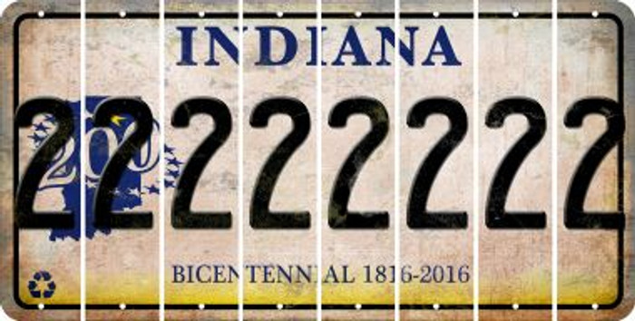 Indiana 2 Cut License Plate Strips (Set of 8) LPS-IN1-029