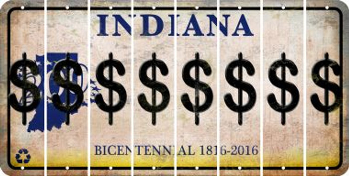Indiana DOLLAR SIGN Cut License Plate Strips (Set of 8) LPS-IN1-040