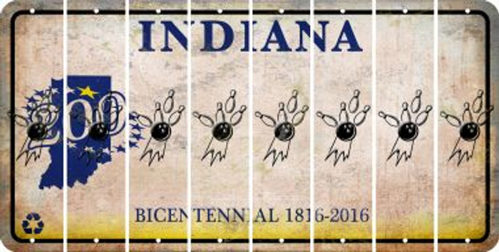 Indiana BOWLING Cut License Plate Strips (Set of 8) LPS-IN1-059