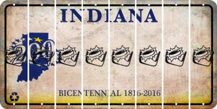 Indiana HOCKEY Cut License Plate Strips (Set of 8) LPS-IN1-062