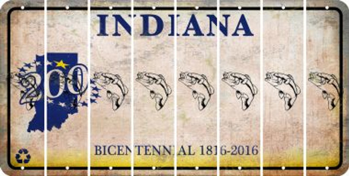 Indiana FISH Cut License Plate Strips (Set of 8) LPS-IN1-086