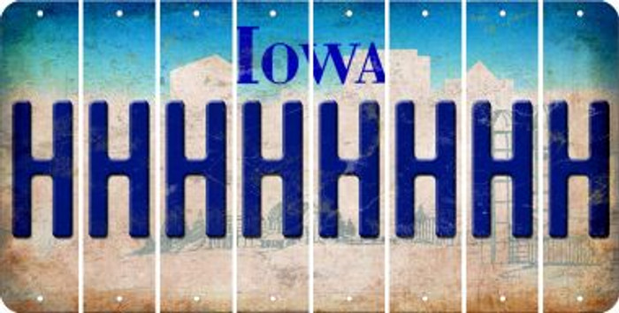 Iowa H Cut License Plate Strips (Set of 8) LPS-IA1-008