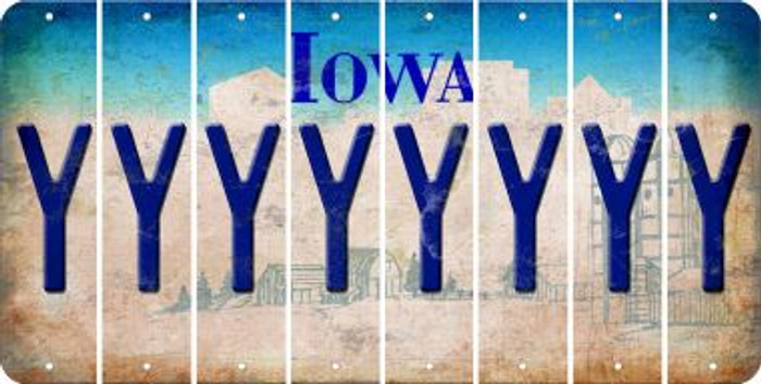 Iowa Y Cut License Plate Strips (Set of 8) LPS-IA1-025