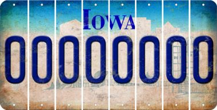 Iowa 0 Cut License Plate Strips (Set of 8) LPS-IA1-027