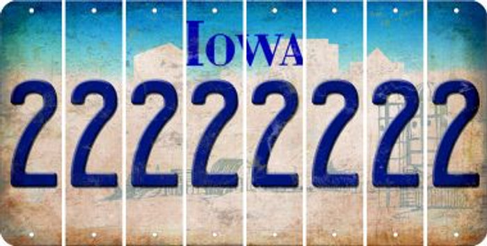 Iowa 2 Cut License Plate Strips (Set of 8) LPS-IA1-029