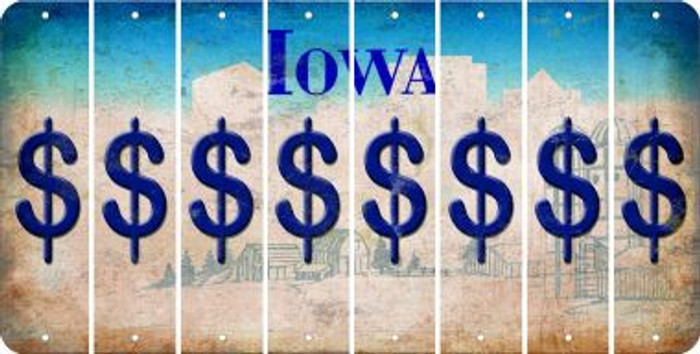 Iowa DOLLAR SIGN Cut License Plate Strips (Set of 8) LPS-IA1-040