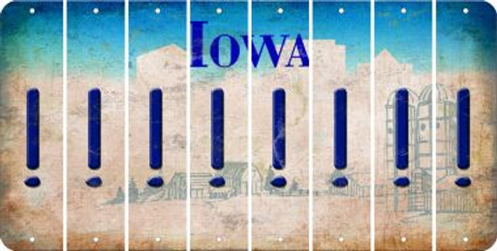 Iowa EXCLAMATION POINT Cut License Plate Strips (Set of 8) LPS-IA1-041