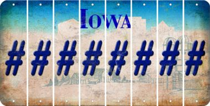 Iowa HASHTAG Cut License Plate Strips (Set of 8) LPS-IA1-043