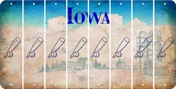 Iowa BASEBALL WITH BAT Cut License Plate Strips (Set of 8) LPS-IA1-057