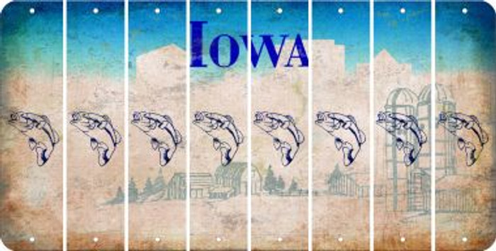 Iowa FISH Cut License Plate Strips (Set of 8) LPS-IA1-086