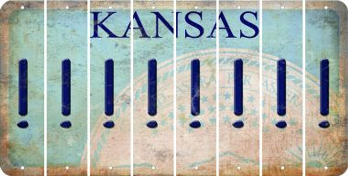 Kansas EXCLAMATION POINT Cut License Plate Strips (Set of 8) LPS-KS1-041