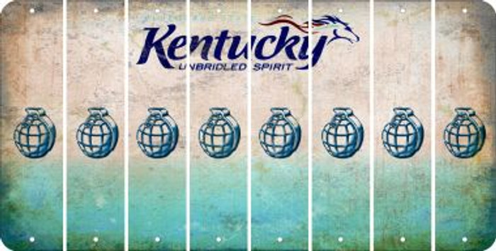 Kentucky HAND GRENADE Cut License Plate Strips (Set of 8) LPS-KY1-050