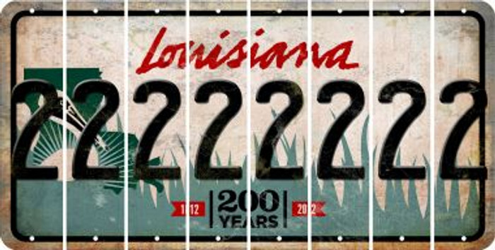 Louisiana 2 Cut License Plate Strips (Set of 8) LPS-LA1-029