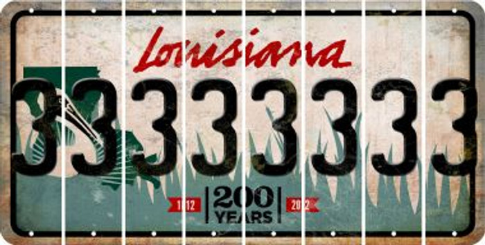 Louisiana 3 Cut License Plate Strips (Set of 8) LPS-LA1-030