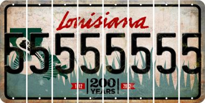 Louisiana 5 Cut License Plate Strips (Set of 8) LPS-LA1-032