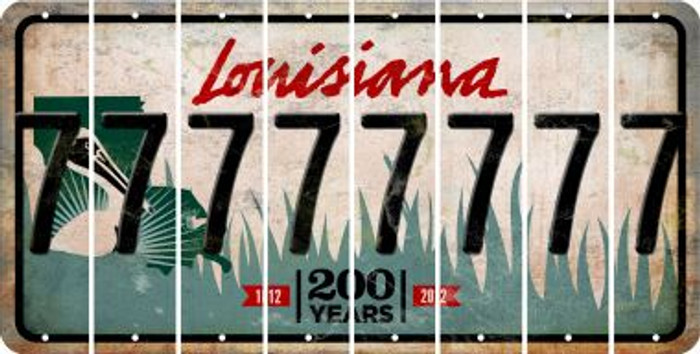Louisiana 7 Cut License Plate Strips (Set of 8) LPS-LA1-034