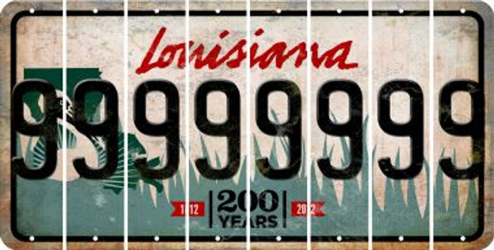 Louisiana 9 Cut License Plate Strips (Set of 8) LPS-LA1-036