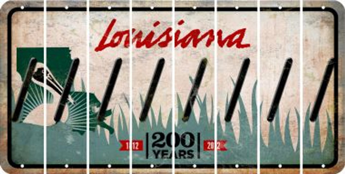 Louisiana FORWARD SLASH Cut License Plate Strips (Set of 8) LPS-LA1-042