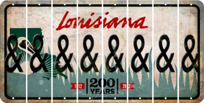 Louisiana AMPERSAND Cut License Plate Strips (Set of 8) LPS-LA1-049