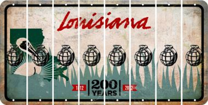 Louisiana HAND GRENADE Cut License Plate Strips (Set of 8) LPS-LA1-050