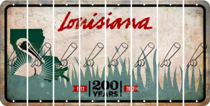 Louisiana BASEBALL WITH BAT Cut License Plate Strips (Set of 8) LPS-LA1-057