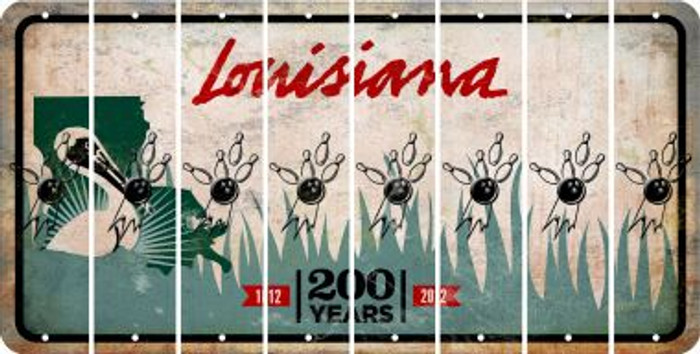 Louisiana BOWLING Cut License Plate Strips (Set of 8) LPS-LA1-059