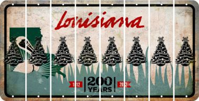 Louisiana CHRISTMAS TREE Cut License Plate Strips (Set of 8) LPS-LA1-077
