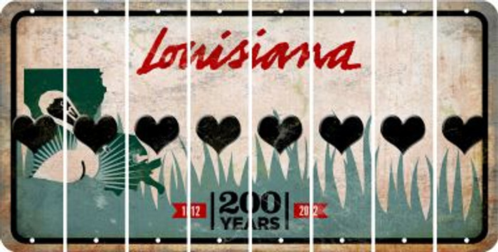 Louisiana HEART Cut License Plate Strips (Set of 8) LPS-LA1-081
