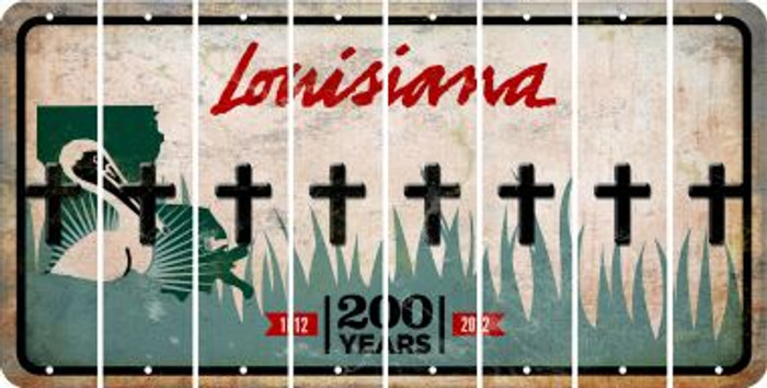 Louisiana CROSS Cut License Plate Strips (Set of 8) LPS-LA1-083