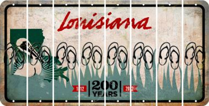 Louisiana FLIP FLOPS Cut License Plate Strips (Set of 8) LPS-LA1-085