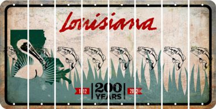 Louisiana FISH Cut License Plate Strips (Set of 8) LPS-LA1-086